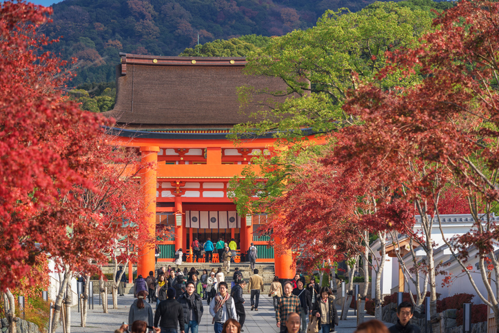 Tourism walking around Main gate of Fushimi Inari-taisha shrine