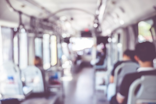 blur background : people in public transportation bus,abstract background.