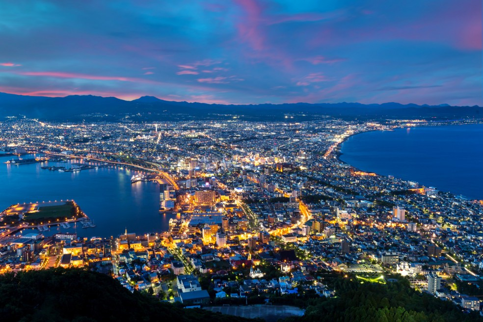 Hakodate City view from Mountain Hakodate, winter season, Hokkai