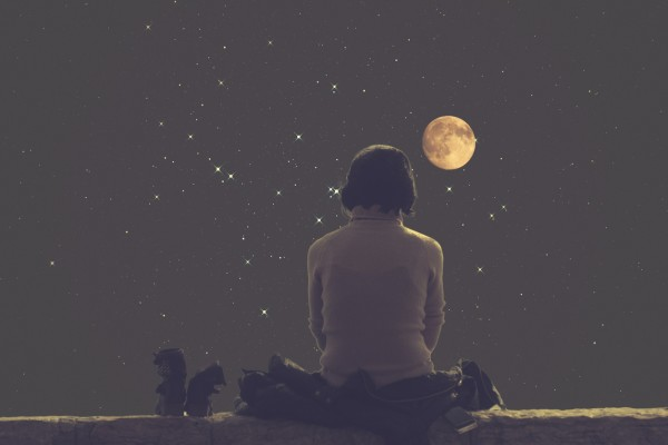 Girl watching the Moon and stars.
