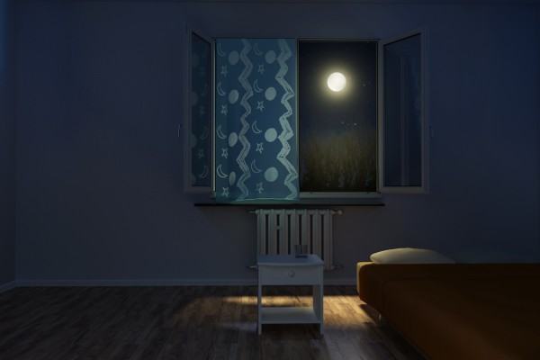 3d rendering of children's room at night